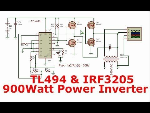 Power Inverter With Tl494 And H Bridge Power Mosfets 900watt 12 240v In 2020 Power Inverters Electronic Schematics Electronic Circuit Design
