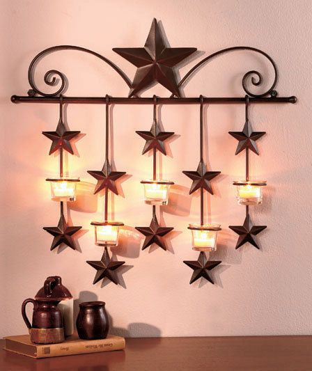 Rustic metal star candle wall sconce glass tea light for Country star decorations home