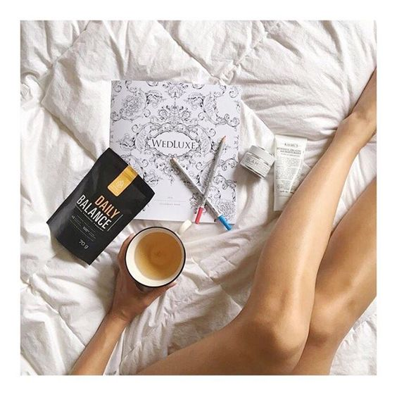 Tea + bed // Daily Balance wellness blend, loose leaf organic tea.