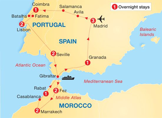 Itinerary Map day by day itinerary 16 days – Morocco Tourist Map