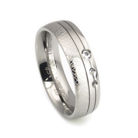 Unique crafted design titanium Wedding Band for women
