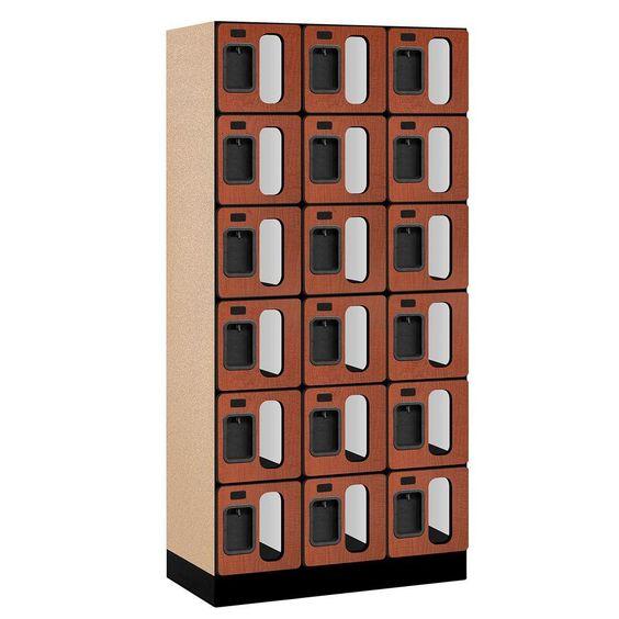 S-36000 Series 36 in. W x 76 in. H x 18 in. D 6-Tier Box Style See-Through Designer Wood Locker in Cherry