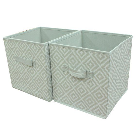 Mainstays Collapsible Fabric Storage Cube Set Of 2 Multiple Colors 10 5 X 10 5 Walmart Com Fabric Storage Cubes Cube Storage Cube Storage Bins