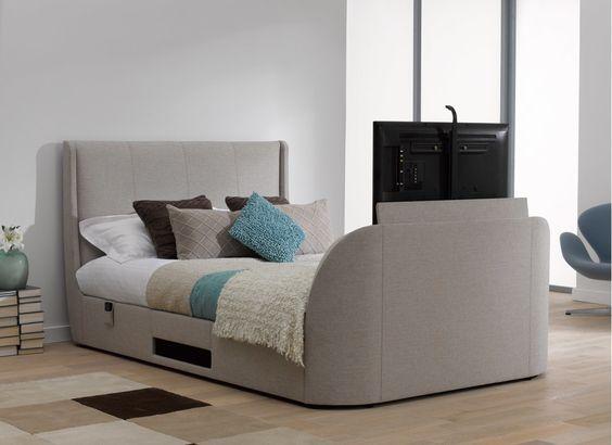 Titanium T3 TV Bed Frame - Oatmeal