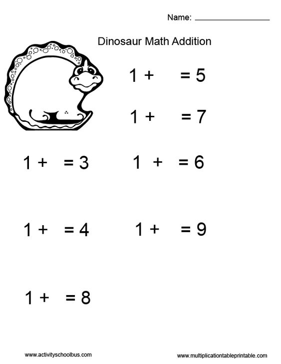 First grade math addition worksheet for kids with dinosaurs – First Grade Math Worksheets Addition