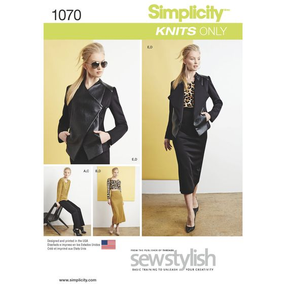 Misses' knit sportswear pattern features a ponte moto style jacket with leather or faux leather front panel, long sleeve top in hip or cropped length, and slim skirt and pants. Simplicity sewing pattern, Sew Stylish Collection.
