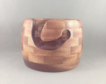 Wooden Knitting Bowl Lathe Turned Segmented by TwistedTimber