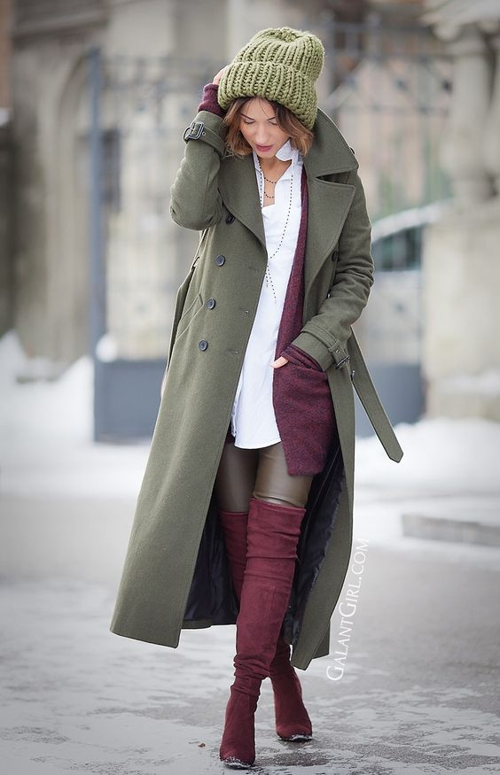 military coat outfit for winter with Stuart Weitzman Over The Knee Boots and Chloe Drew bag by fashion blogger Ellena Galant