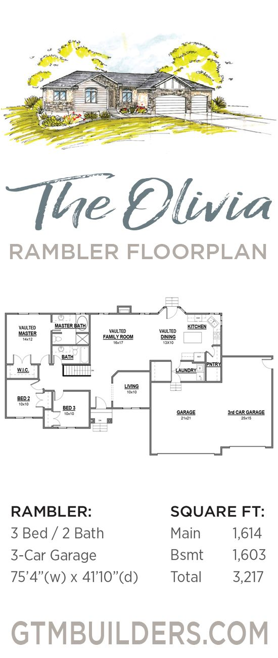 The Olivia Rambler Floorplan 3217 Sq Ft Utah Gtm Builders Craftsman Floor Plans Cottage Floor Plans Floor Plans