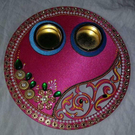 Puja thali vrishti creations thali decor pinterest puja thali vrishti creations thali decor pinterest decoration diwali and craft junglespirit Images