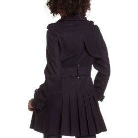 Miss Sixty Double Breasted Wool Trench, Pleated Back