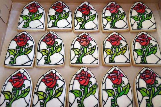Beauty and the Beast Everlasting Rose cookies by crystalscookiesandsweets,com.: