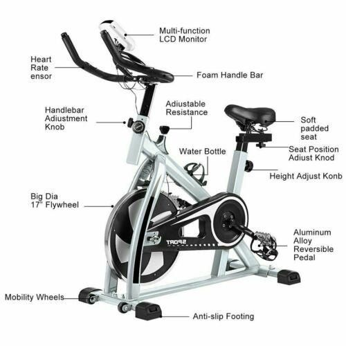 Indoor Exercise Bike Stationary Bicycle Cardio Fitness Workout Gym