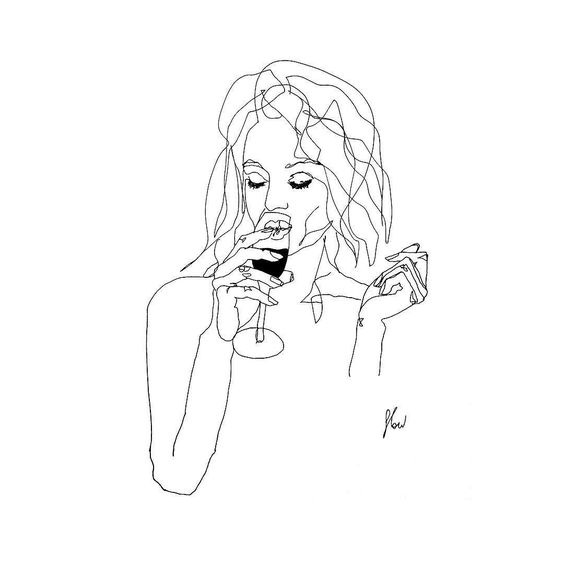 Tag a drink & grab a friend. Wait what? champagne, drawing, sketch, sketch art, line drawing, line art, drink champagne, party, afterwork, afterhours, happy hour, fancy, night out, pen drawing, black and white, minimalist, abstract art, flowsofly