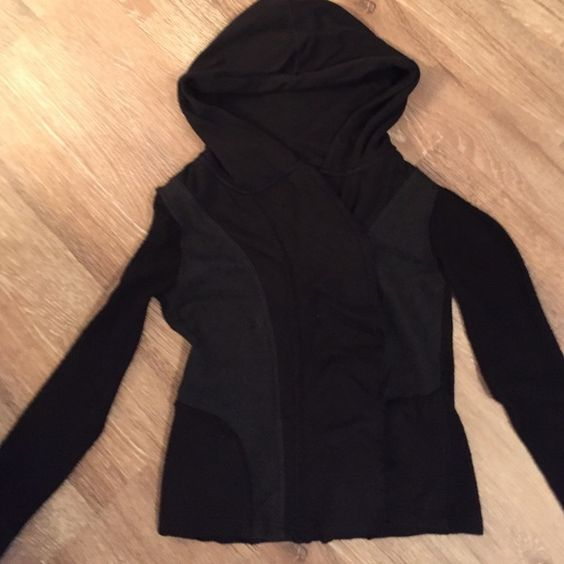Free People jacket with hoodie. Perfect condition, black jacket/sweater hoodie. Snap closure with slight ruffle front. Great jacket! Free People Jackets & Coats