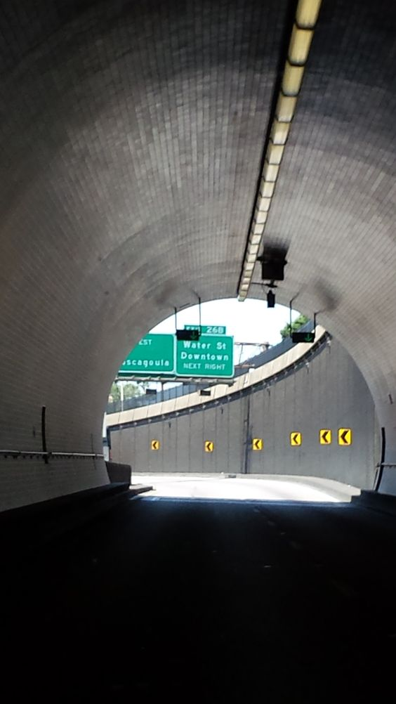 I-10 Westbound, exiting the Wallace Tunnel at Mobile, Alabama.  There is light at the end of the tunnel!