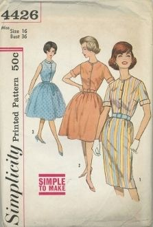 """An unused original ca. 1960's Simplicity Pattern 4426.  """"Simple to make"""".  Dress has round neckline and front button closing.  V. 1 and 2 have set-in sleeves turned back to form cuffs and top-stitching detail.  V. 1 has slim skirt with gathers at front waistline, back kick pleat and side zipper closing.  Belt is purchased.  V. 2 and 3 have full gathered skirts and V. 3 is sleeveless, has a collar and purchased tie belt."""