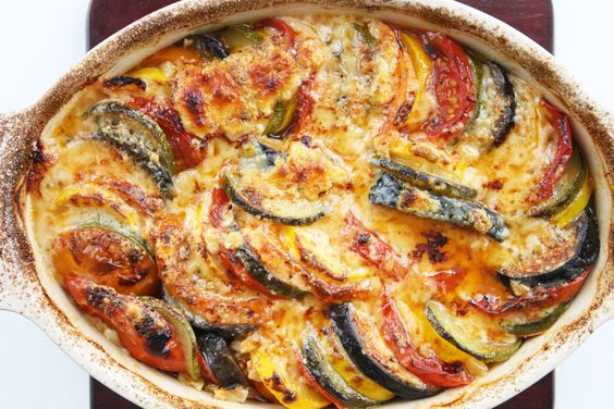 """Baked Ratatouille """"If you're gonna name a food, you should name it something that sounds delicious. Ratatouille doesn't sound delicious. It sounds like rat, and patootie. Rat Fatootie, which does NOT sound delicious.""""  (Why  yes, I did just quote that from memory because I need a life.)"""
