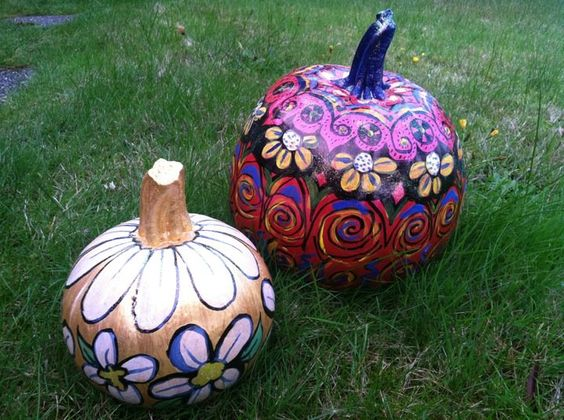 Acrylic painted pumpkins