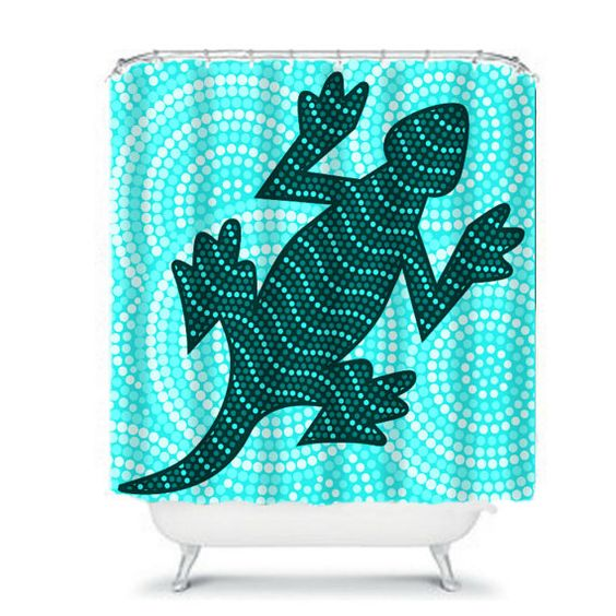 Lizard  SHOWER CURTAIN Mosaic Style Teal Aqua by FolkandFunky