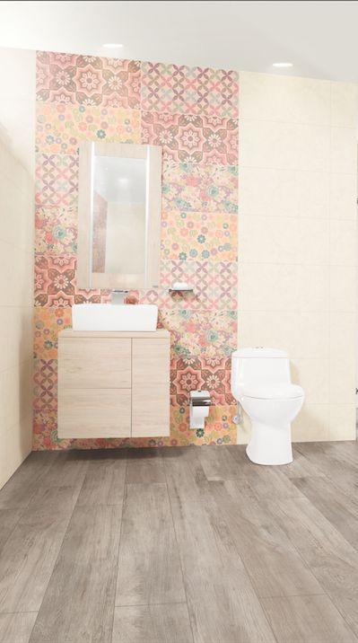 #Baño muy femenino. Base decorada línea Penina de #Corona