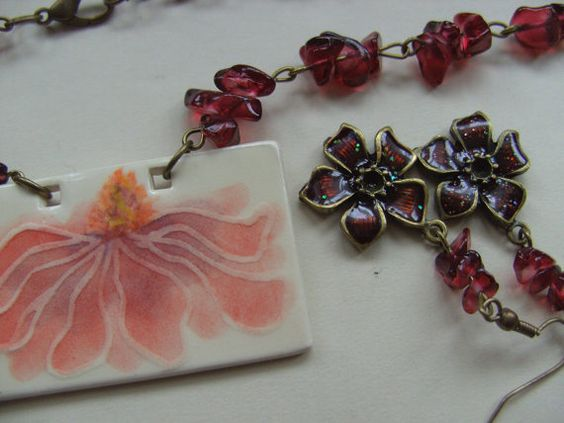 Divine Magnolia necklace and earrings set deep by NewellsJewels, £16.00