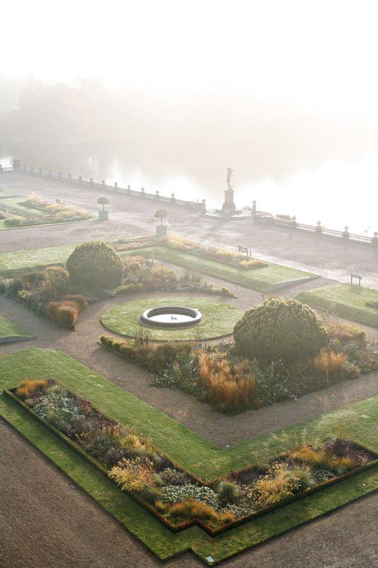 a beautiful misty garden terrace, Trentham estate| Tom Stuart-Smith photography