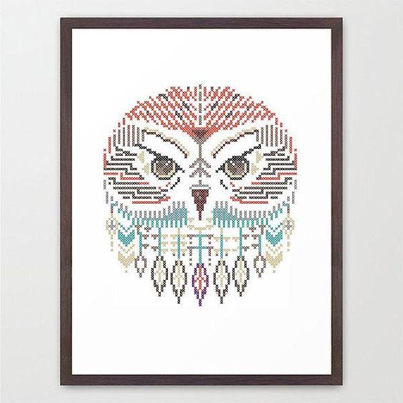 chouette hibou oiseau animal poster affiche pixel. Black Bedroom Furniture Sets. Home Design Ideas