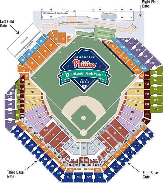 Citizen bank park seating chart phillies pinterest seating