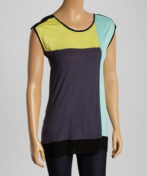 Another great find on #zulily! Hem & Thread Yellow & Navy Color Block Cap-Sleeve Top by Hem & Thread #zulilyfinds
