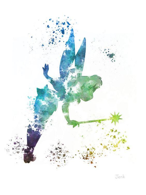 Tinker Bell Fairy, Peter-Pan-ART-PRINT Illustration, Disney, Mischtechnik, Home Decor, Kindergarten, Kind