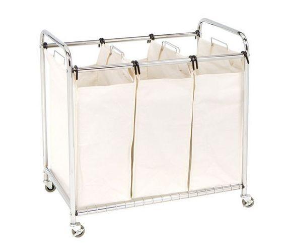 Heavy Duty Laundry Cart Sorter Canvas Bag Bedroom Hamper Wheels Clothes Storage #Unbranded