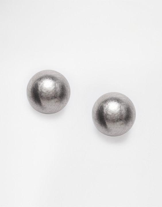 Immagine 1 di Pieces - Hogan - Orecchini a bottone giganti in metallo spazzolato
