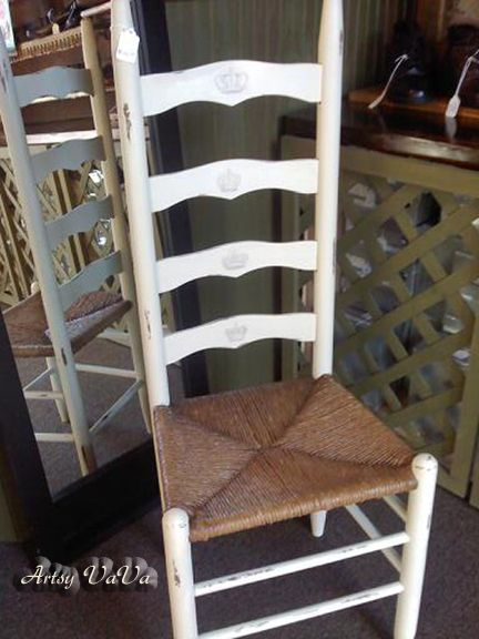 I'm going to paint my black ladder back chairs like this.