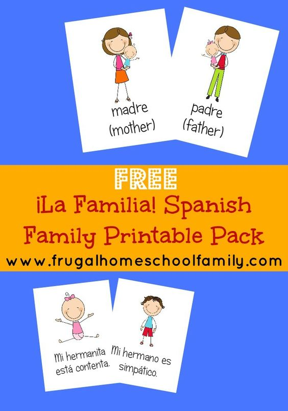 Interested in learning Spanish with your kids? Grab this free Spanish family words worksheet pack and learn Spanish words for immediate family members!