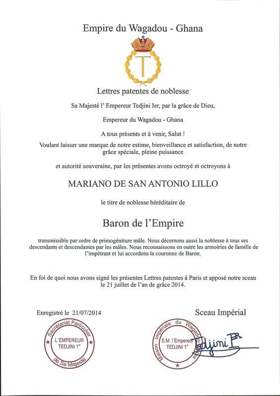 Carta Patente de Título de Barón del Imperio (Wagadou-Ghana).