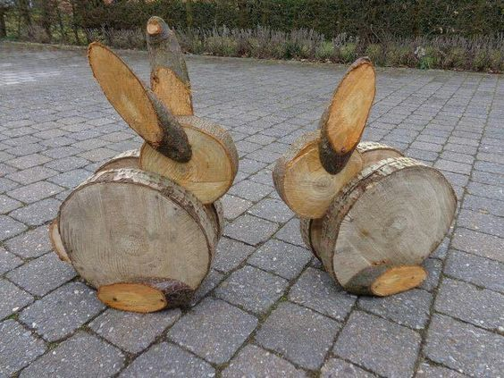 Wooden bunny sliced wood
