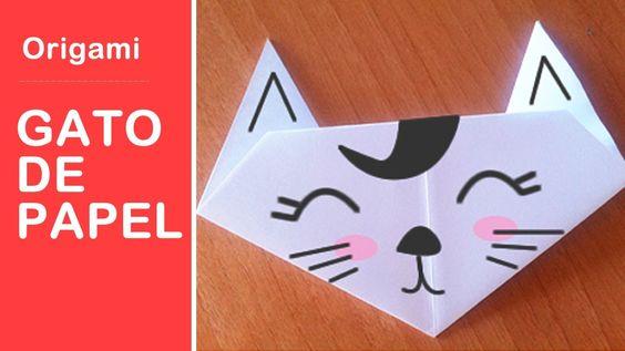 Easy origami paper cat origami f cil para ni os gato de - Como hacer manualidades de papel ...