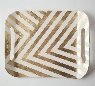 tray - Gold accent + chevron pattern