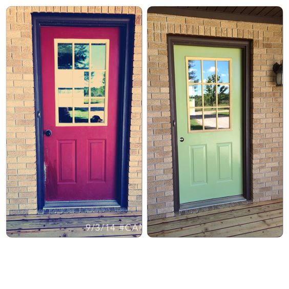 I had some left over paint in the house and I really wanted to re-paint the ugly front door.