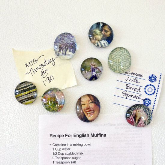 Use pictures and greeting cards to make magnets for your fridge. Here's a tutorial on how to make picture magnets.  You can even use the numbers and create magnets with them to make your own magnetic calendar.  Photo: Sarah Lipoff