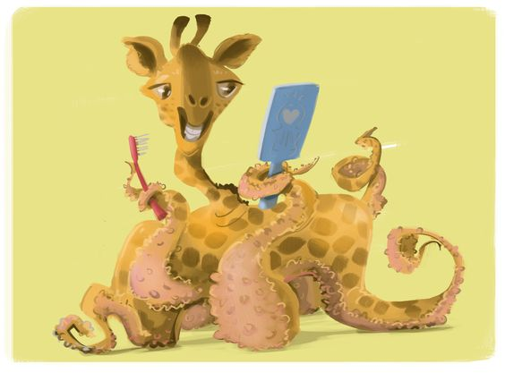Giraffepus, illustration of animal that is hybrid between giraffe - griffe für küche