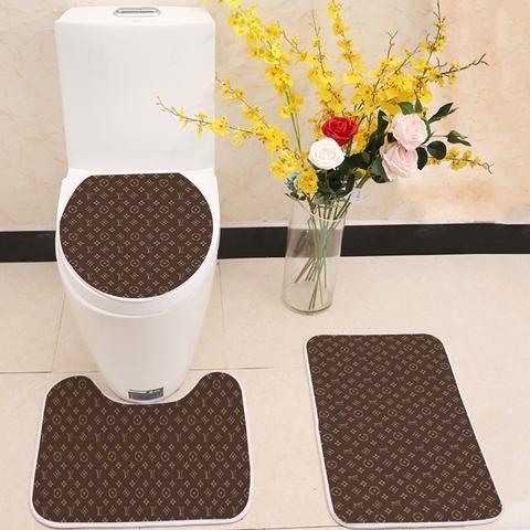 Louis Vuitton Logo Pattern Floor Carpet Toilet Rug Lid Cover 3 Piece B Itdayshop Toilet Rug Buying Carpet Bath Mat Sets