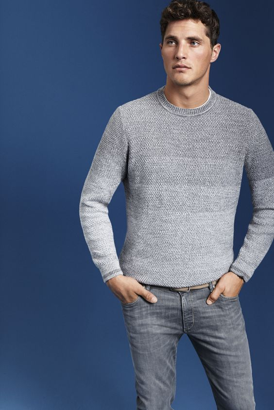 BUGATTI SPRING/SUMMER 2016   Knitwear – not only a style for winter! The season is getting airy with this cosy waffle knit and an innovative choice of colours! #bugattifashion #SS16 #menswear #knitwear #spring #summer #grey #colourgradient