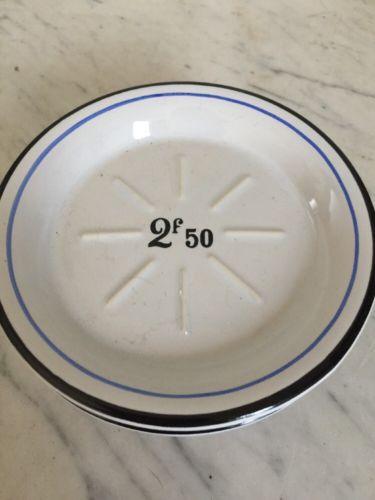 "Set Of 4 French Franc Cheese/Tapas Plates 5"" White & Blue"