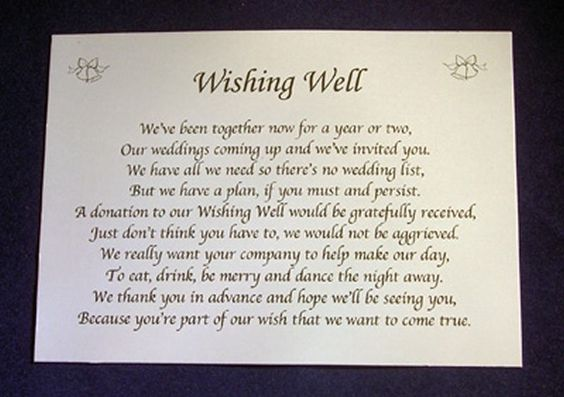 ... Wishing Well Money Request Poem Gift Cards for Wedding Invitations