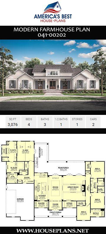 Single Story Modern Farmhouse Open Floor Plans