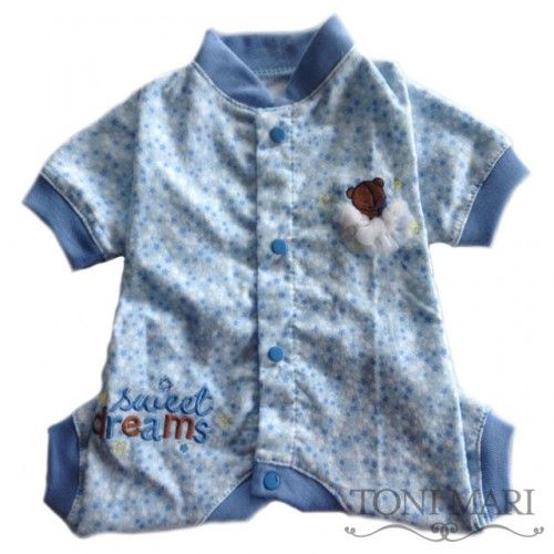 Sweet Dreams Flannel Dog Pajama (Blue), Toni Mari - $38.95