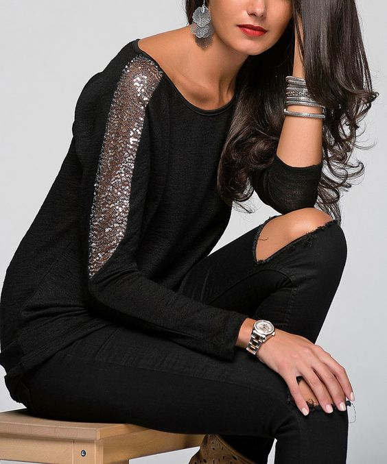 Love this Black Sequin-Sleeve Top by Cool & Sexy on #zulily! #zulilyfinds
