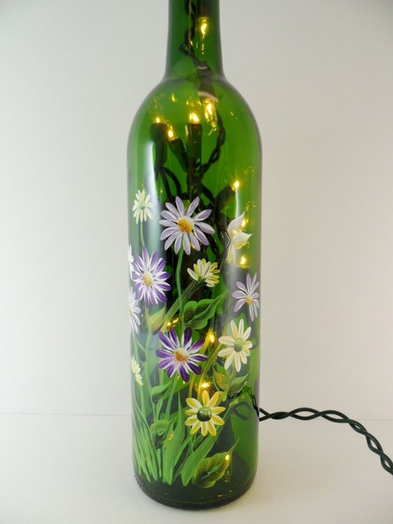 lighted wine bottle flower bouquet hand painted recycled